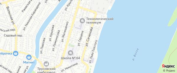 Улица Сеченова на карте Астрахани с номерами домов