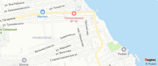 Переулок Некрасова на карте Астрахани с номерами домов
