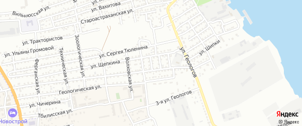 Переулок Восход на карте Астрахани с номерами домов