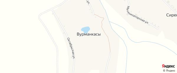 Улица Чапаева на карте деревни Вурманкасы с номерами домов