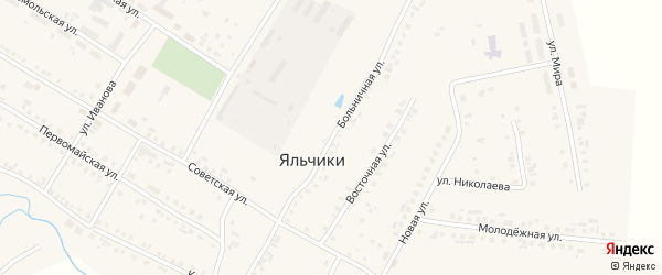 Больничная улица на карте села Яльчиков с номерами домов