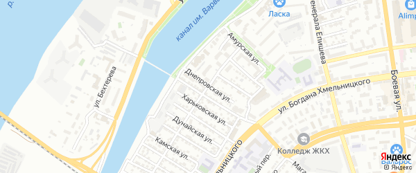 Днепровская улица на карте Астрахани с номерами домов