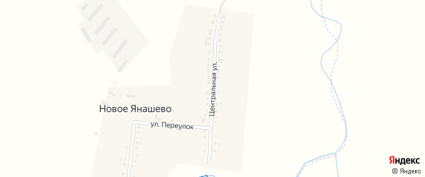 Центральная улица на карте деревни Новое Янашево с номерами домов