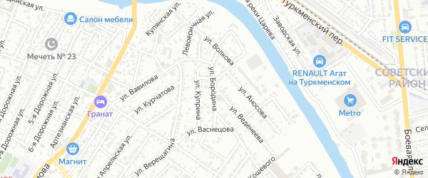 Улица Бородина на карте Астрахани с номерами домов