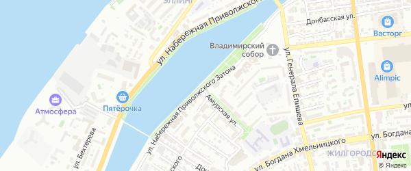 Улица Набережная затона на карте Астрахани с номерами домов