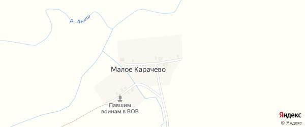 Луговая улица на карте деревни Малое Карачево с номерами домов