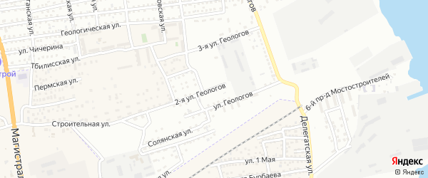 Астраханская 2-я улица на карте Астрахани с номерами домов