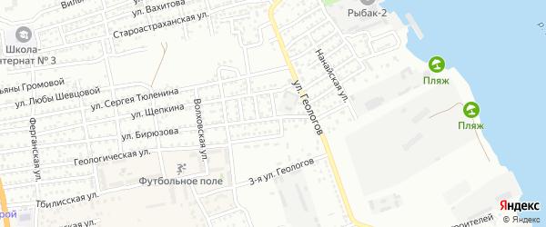 Чаганский переулок на карте Астрахани с номерами домов