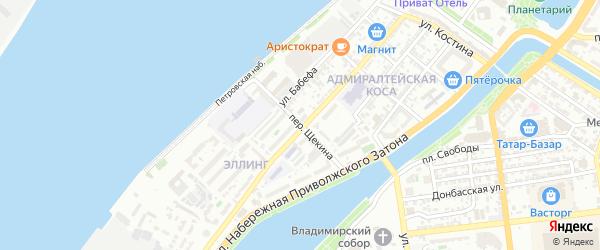 Переулок Щекина на карте Астрахани с номерами домов