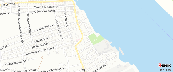 Улица Набережная Волжских зорь на карте Астрахани с номерами домов