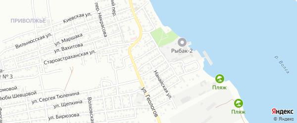 Улица Подвойского на карте Астрахани с номерами домов