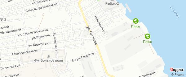 Улица Геологов на карте Астрахани с номерами домов