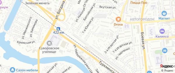 Улица Бегичева на карте Астрахани с номерами домов