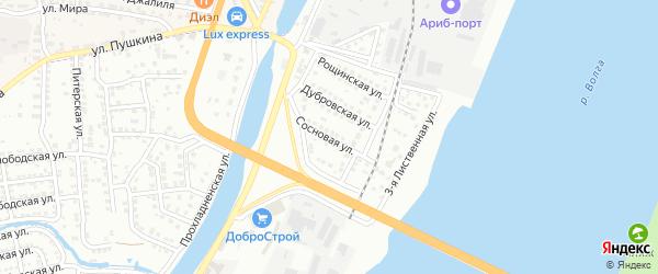 Сосновая улица на карте Астрахани с номерами домов