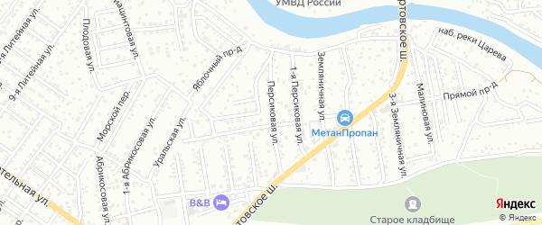 Персиковая улица на карте Астрахани с номерами домов
