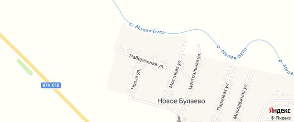 Набережная улица на карте деревни Новое Булаево с номерами домов