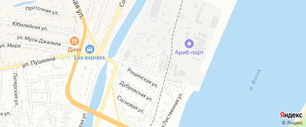 Рощинский переулок на карте Астрахани с номерами домов