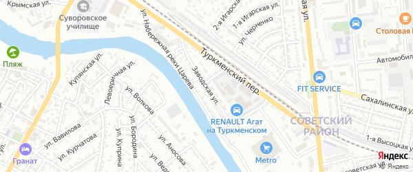 Заводская улица на карте Астрахани с номерами домов