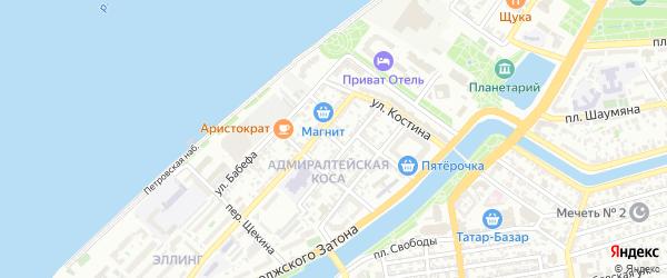 Кольцовский переулок на карте Астрахани с номерами домов