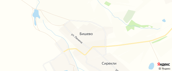 Карта деревни Бишево в Чувашии с улицами и номерами домов