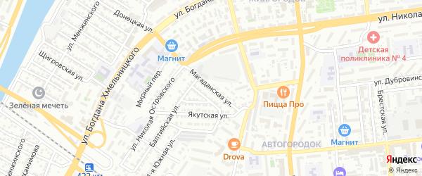 Магаданская улица на карте Астрахани с номерами домов