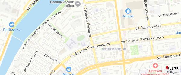 Улица Генерала Епишева на карте Астрахани с номерами домов