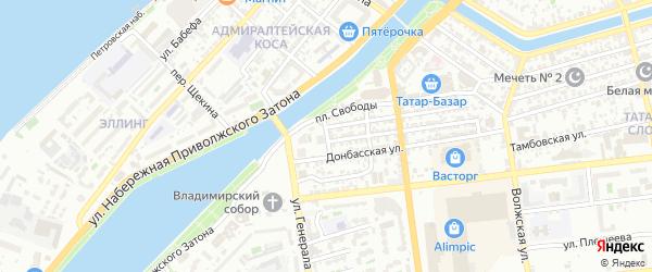 Семипалатинский переулок на карте Астрахани с номерами домов