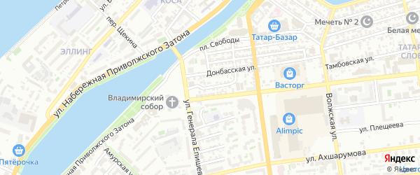 Ленский переулок на карте Астрахани с номерами домов