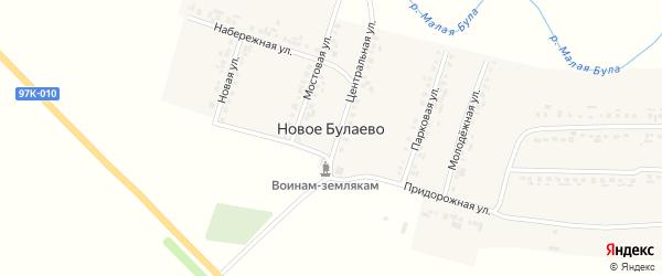 Придорожная улица на карте деревни Новое Булаево с номерами домов