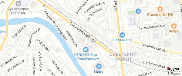 Туркменский переулок на карте Астрахани с номерами домов
