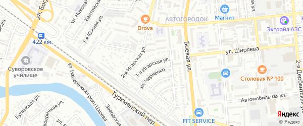 Игарская 1-я улица на карте Астрахани с номерами домов