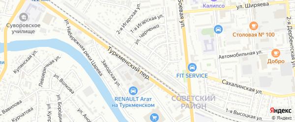 Высоцкая 2-я улица на карте Астрахани с номерами домов