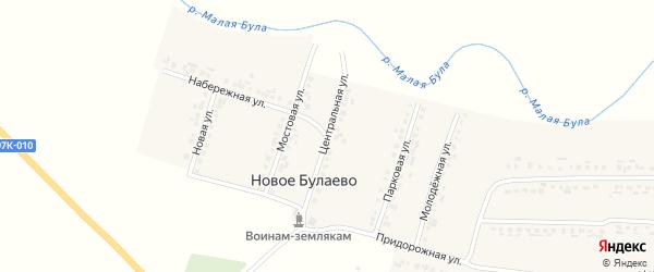 Центральная улица на карте деревни Новое Булаево с номерами домов