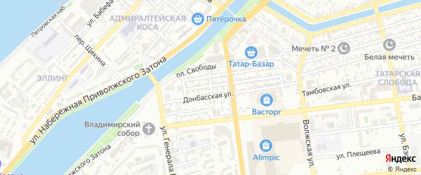 Узенький переулок на карте Астрахани с номерами домов