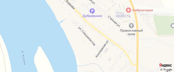 Улица Специалистов на карте села Яксатово с номерами домов