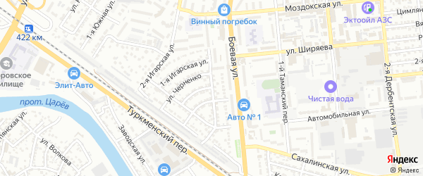 Улица Боевая 1-й проезд на карте Астрахани с номерами домов