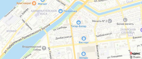 Узенькая улица на карте Астрахани с номерами домов