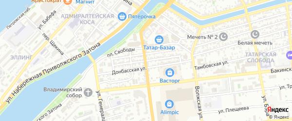 Улица Жана Жореса на карте Астрахани с номерами домов