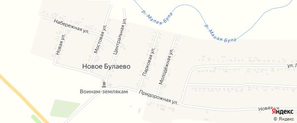 Парковая улица на карте деревни Новое Булаево с номерами домов