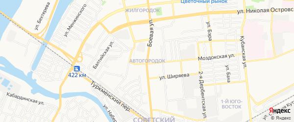 ГСК Автогородок на карте Астрахани с номерами домов