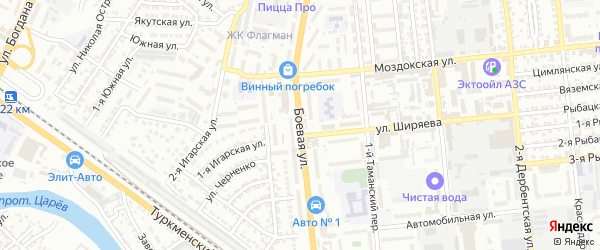 Улица Боевая 4-й проезд на карте Астрахани с номерами домов
