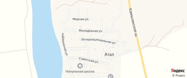 Камызякская улица на карте села Атала с номерами домов