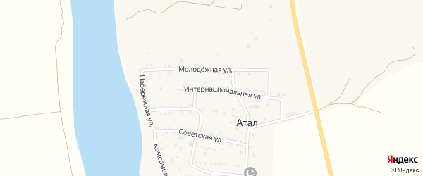 Камызякское шоссе на карте села Атала с номерами домов
