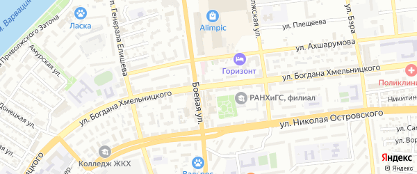 Улица Богдана Хмельницкого на карте Астрахани с номерами домов