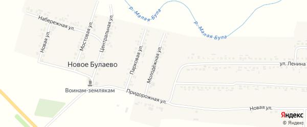 Молодежная улица на карте деревни Новое Булаево с номерами домов