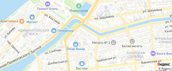 Ташкентская улица на карте Астрахани с номерами домов