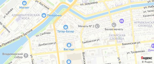 Переулок Котовского на карте Астрахани с номерами домов