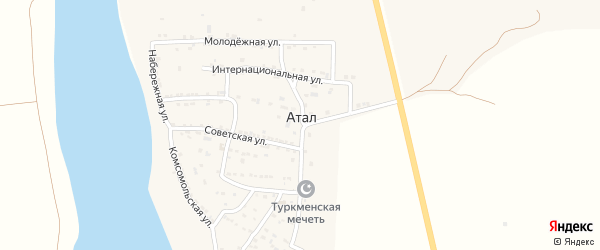 Мирная улица на карте села Атала с номерами домов