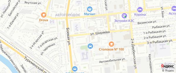 Таманский 1-й переулок на карте Астрахани с номерами домов