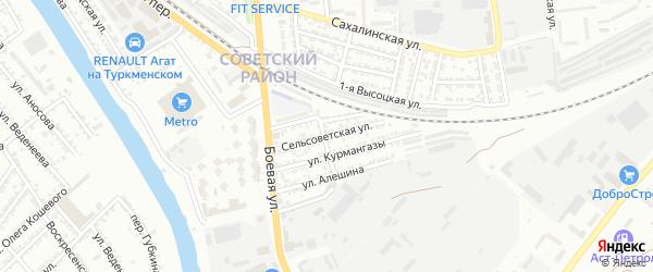 Сельсоветская улица на карте Астрахани с номерами домов